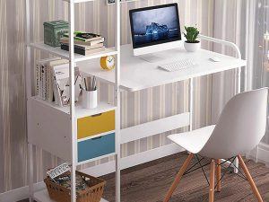bureau informatique avec rangement blanc