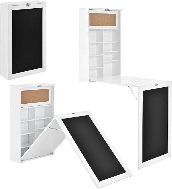 bureau pliable mural blanc